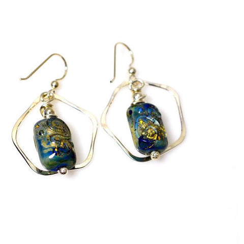 STERLING SILVER & GLASS BEAD EARRINGS - Side Street Studio