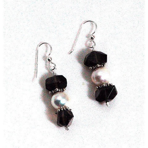 SMOKEY QUARTZ, PEARL & STERLING EARRINGS - Side Street Studio