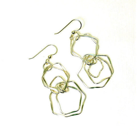 STERLING SILVER FORGED RINGS EARRINGS - Side Street Studio