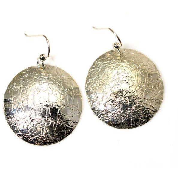 STERLING SILVER TEXTURED DISC EARRINGS - Side Street Studio