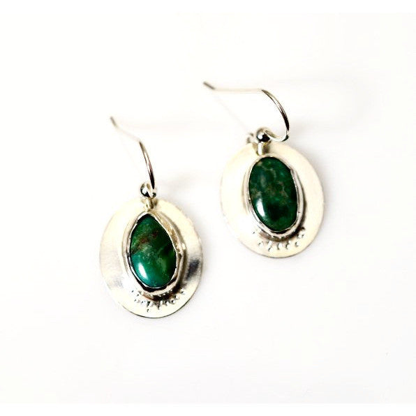STERLING SILVER EARRINGS WITH TURQUOISE - Side Street Studio