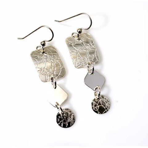 STERLING SILVER EMBOSSED EARRINGS - Side Street Studio