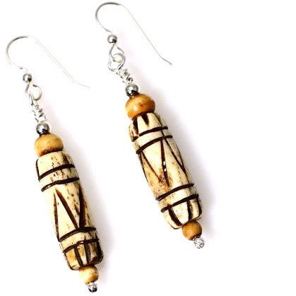 STERLING SILVER & CARVED BONE EARRINGS - Side Street Studio