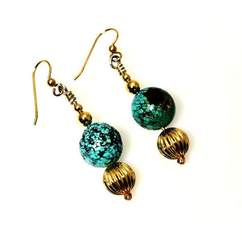 GOLD FILLED EARRINGS WITH TURQUOISE - Side Street Studio