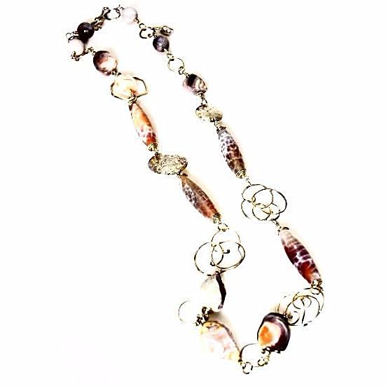 STERLING SILVER & FIRE AGATE & CORAL NECKLACE - Side Street Studio  - 1
