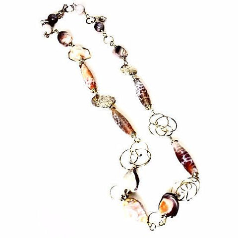 STERLING SILVER, FIRE AGATE AND CORAL NECKLACE - Side Street Studio - 1