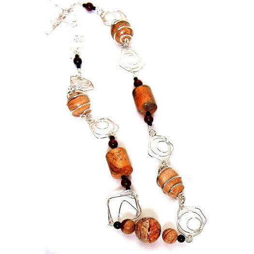 STERLING SILVER & JASPER NECKLACE - Side Street Studio
