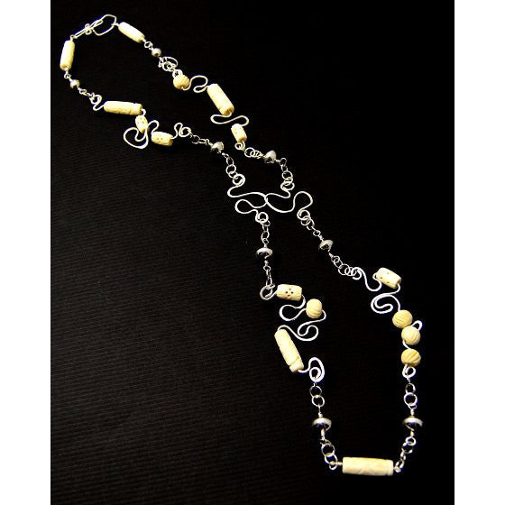 STERLING SILVER & CARVED BONE NECKLACE - Side Street Studio