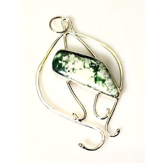 STERLING SILVER AND MOSS JASPER PENDANT