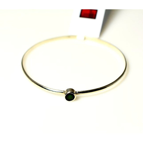 STERLING SILVER GEMSTONE STACKING BANGLE - GREEN TOPAZ - Side Street Studio