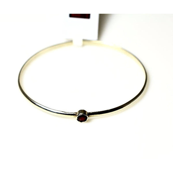 STERLING SILVER GEMSTONE STACKING BANGLE - GARNET - Side Street Studio
