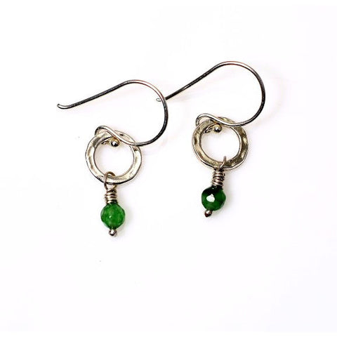 STERLING SILVER SMALL CIRCLE EARRINGS - EMERALD - Side Street Studio