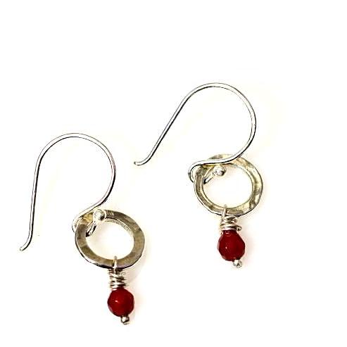 STERLING SILVER SMALL CIRCLE EARRINGS - RUBY - Side Street Studio