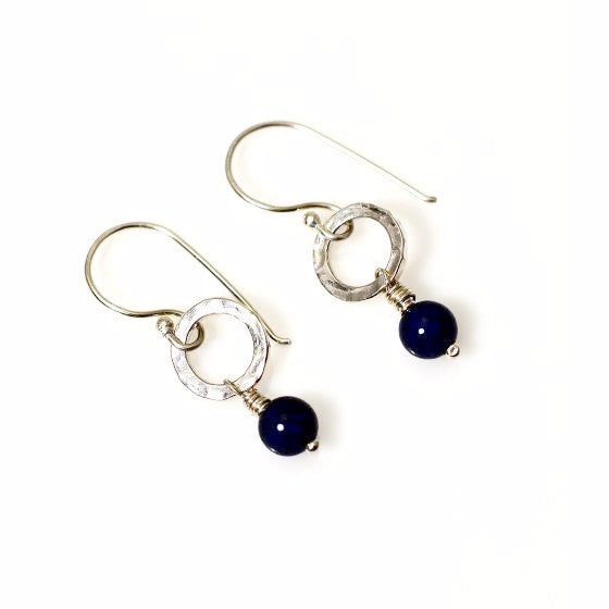 STERLING SILVER SMALL CIRCLE EARRINGS - LAPIS LAZULI