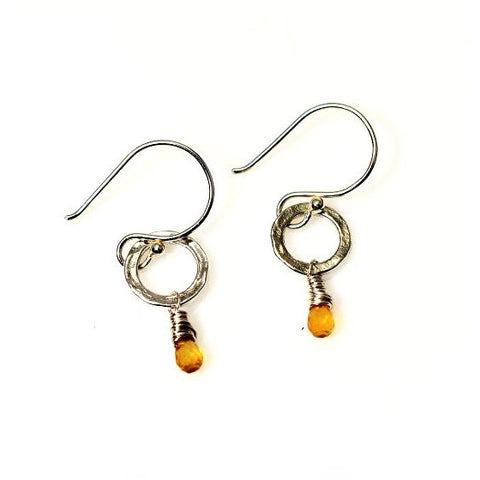 STERLING SILVER SMALL CIRCLE EARRINGS - CITRINE - Side Street Studio