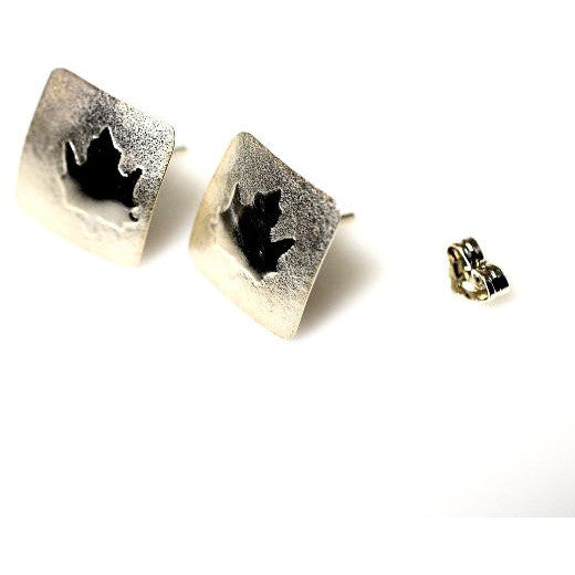 STERLING SILVER MAPLE LEAF STUD EARRINGS - Side Street Studio