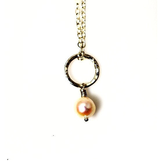 STERLING SILVER  CIRCLE PENDANT - FRESHWATER PEARL - Side Street Studio