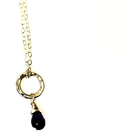 STERLING SILVER SMALL CIRCLE PENDANT - IOLITE - Side Street Studio
