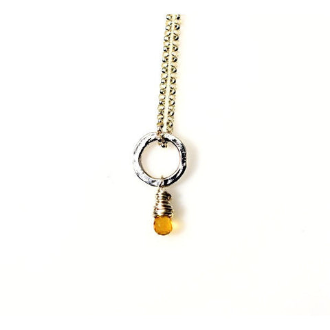 STERLING SILVER SMALL CIRCLE PENDANT - CITRINE - Side Street Studio