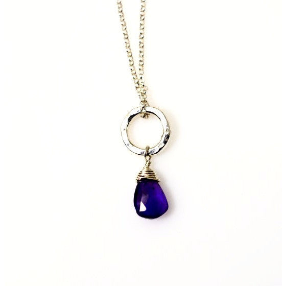 STERLING SILVER SMALL CIRCLE PENDANT - AMETHYST - Side Street Studio