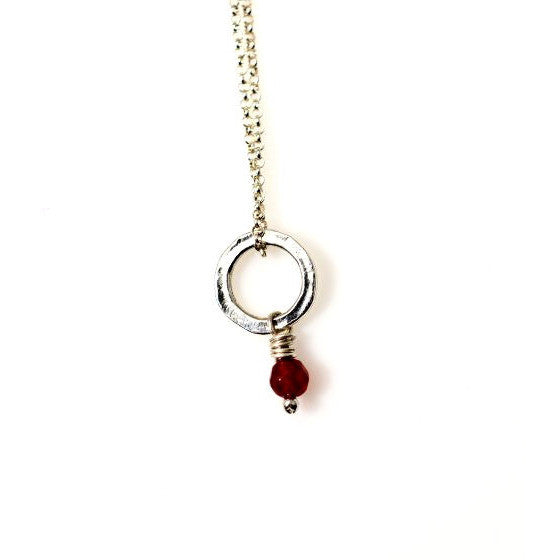 STERLING SILVER SMALL CIRCLE PENDANT - RUBY - Side Street Studio