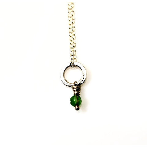 STERLING SILVER SMALL CIRCLE PENDANT - EMERALD - Side Street Studio