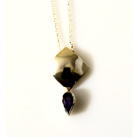 STERLING SILVER  DOMED PENDANT WITH AMETHYST - Side Street Studio