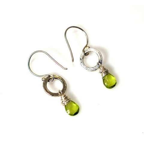 STERLING SILVER SMALL CIRCLE EARRINGS - PERIDOT - Side Street Studio