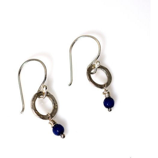 STERLING SILVER SMALL CIRCLE EARRINGS - SAPPHIRE - Side Street Studio