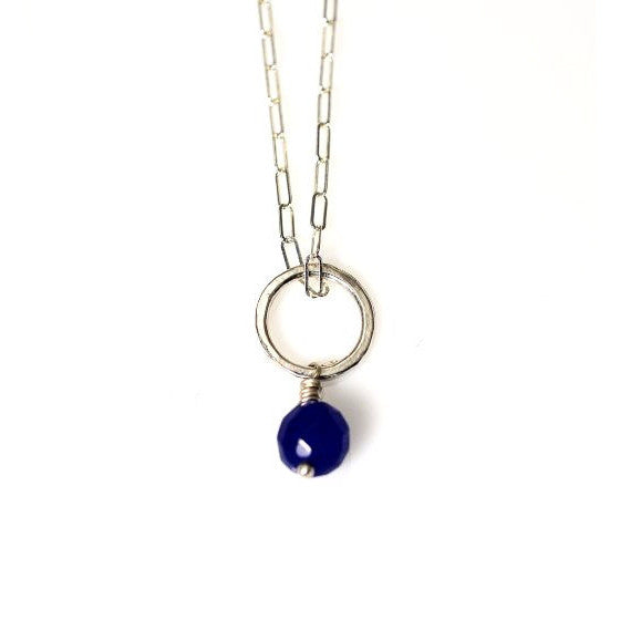 STERLING SILVER CIRCLE PENDANT WITH SAPPHIRE - Side Street Studio