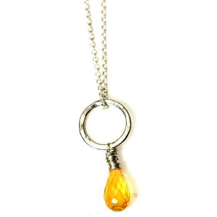 STERLING SILVER AND CITRINE LARGE CIRCLE PENDANT - Side Street Studio