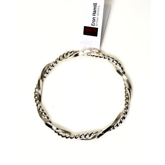 DOUBLE TWISTED STERLING SILVER BANGLE - Side Street Studio