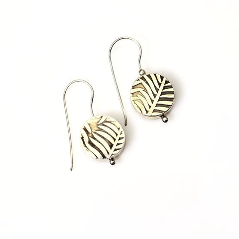 STERLING SILVER HOLLOW BUTTON LEAF EARRINGS