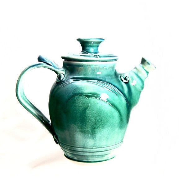 TURQUOISE GLAZE TEA POT - Side Street Studio