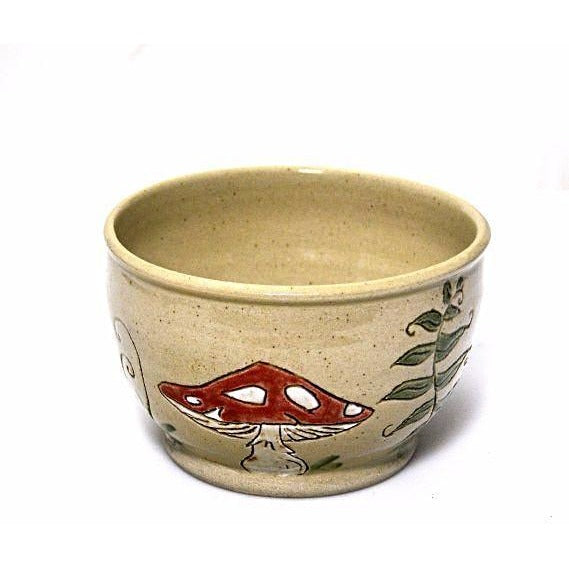 Small Ceramic Bowl with Red and White Mushrooms - Side Street Studio