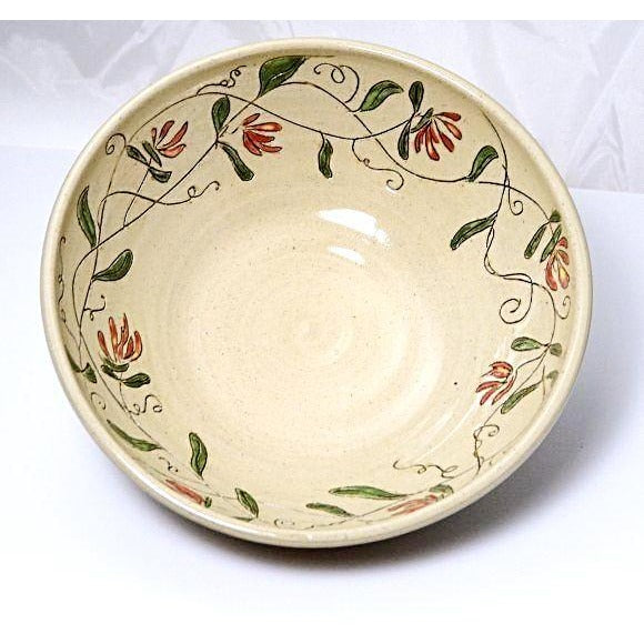Large Ceramic Bowl with Honeysuckle flowers 10 1/2 inches - Side Street Studio