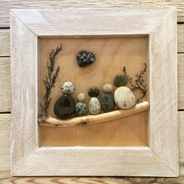 Framed Pebble Art Designs, Family of Five
