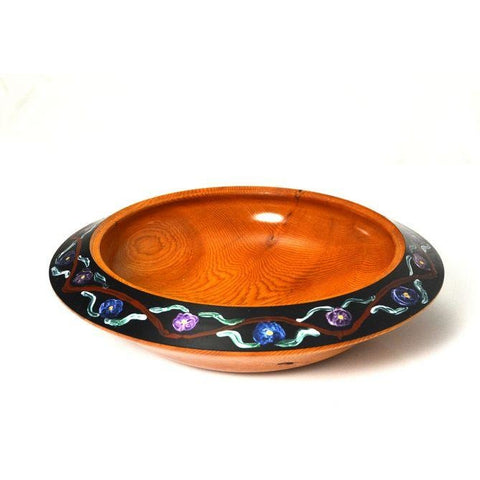 YEW WOOD BOWL WITH PAINTED RIM
