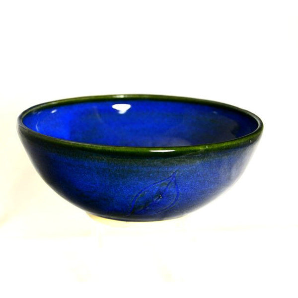 MEDIUM BLUE LEAF DESIGN BOWL - Side Street Studio