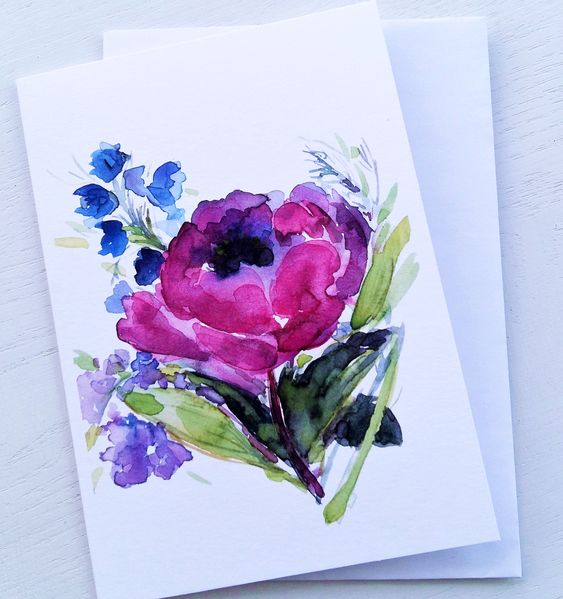 Purple Peony Greeting Card