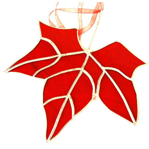 RED MAPLE LEAF GLASS HANGING - Side Street Studio