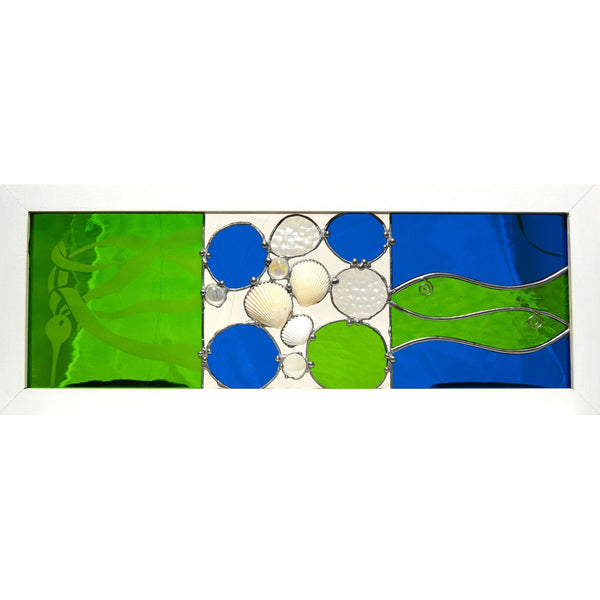 GREEN FISH AND KELP GLASS PANEL - Side Street Studio