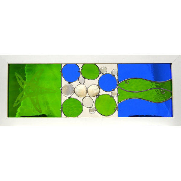 STARFISH AND GREEN FISH GLASS PANEL - Side Street Studio