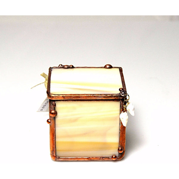 CREAM AND BEIGE GLASS BOX