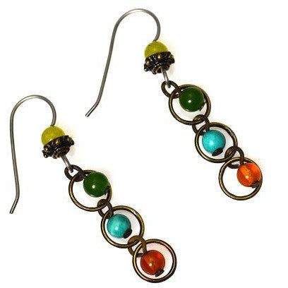 AMBER, JADE AND TURQUOISE EARRINGS - Side Street Studio