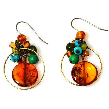 AMBER, JADE & TURQUOISE EARRINGS - Side Street Studio