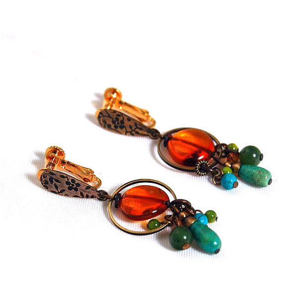 AMBER, JADE AND TURQUOISE CLIP ON EARRINGS - Side Street Studio