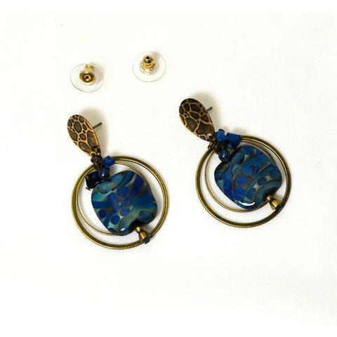 ATLANTIS BLUE STUD TOP EARRINGS - Side Street Studio
