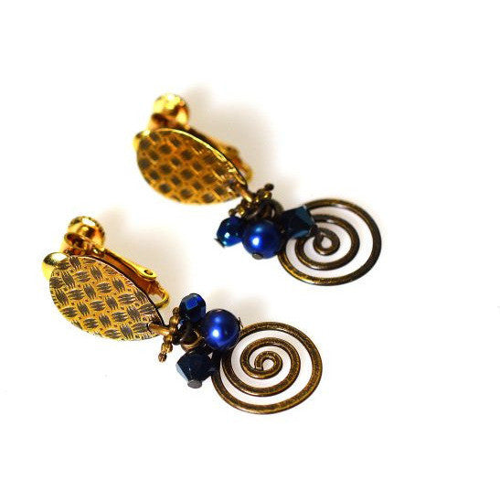 ATLANTIS BLUE CLIP EARRINGS - Side Street Studio