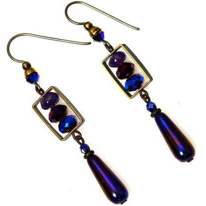 ATLANTIS BLUE AND PURPLE EARRINGS - Side Street Studio